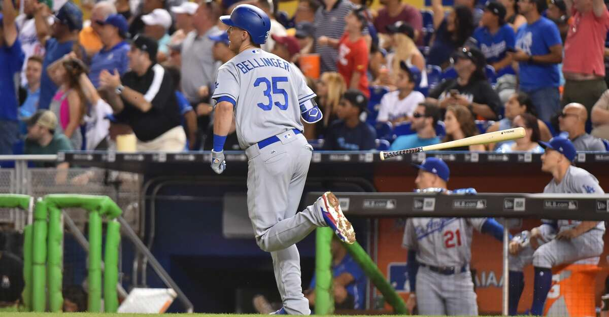 MIAMI, FL - JULY 15: Cody Bellinger #35 of the Los Angeles Dodgers hits a home run in the third inning against the Miami Marlins at Marlins Park on July 15, 2017 in Miami, Florida. (Photo by Eric Espada/Getty Images)