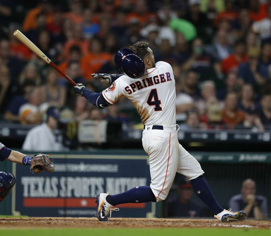 Astros outfielder George Springer will be the designated hitter for the second time this season on Sunday against the Twins. Photo: Karen Warren/Houston Chronicle