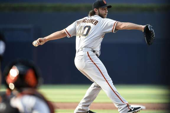 SAN DIEGO, CA - JULY 15: Madison Bumgarner #40 of the San Francisco Giants pitches during the first inning of a baseball game against the San Diego Padres at PETCO Park on July 15, 2017 in San Diego, California. (Photo by Denis Poroy/Getty Images)