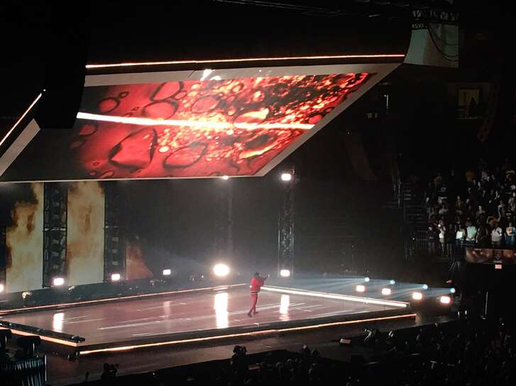 Kendrick Lamar onstage July 15 at Toyota Center as part of the DAMN. Tour.