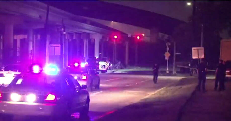 Two people are dead after a police chase ended in a fiery crash in north Houston. Photo: Metro Video