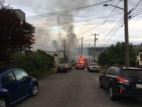 A large fire broke out early Sunday in the 1700 block of 23rd Avenue South in Seattle's Central District. KOMO News photo.