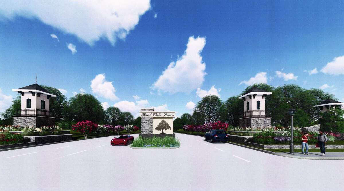 The entrance to the new Grand Oaks Reserve subdivision in Cleveland.