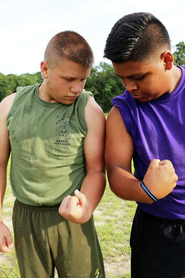 John Mahaffey and Joel Villegas are brothers in arms. The two Dayton High School seniors are best friends and recently signed up together to join the United States Marine Corps. Photo: David Taylor