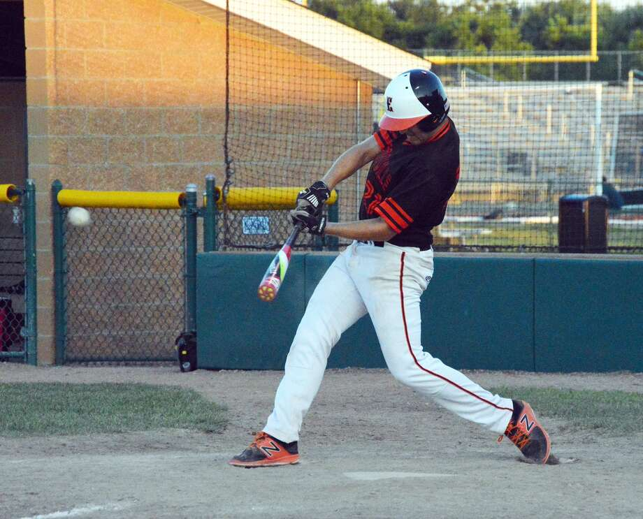 Edwardsville first baseman Tyler Holt smokes a double into left in Saturday's game against the STL Prospects Black.