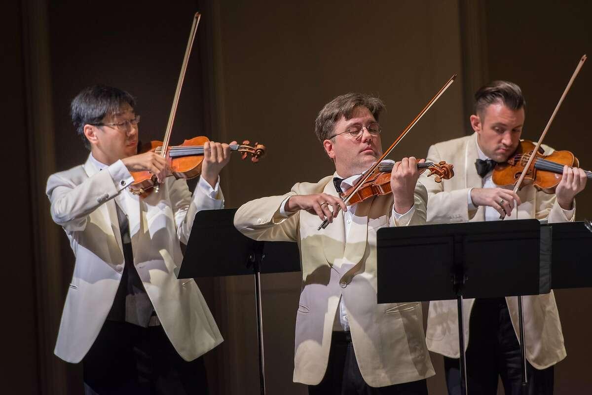 Violinists�Soovin Kim (l.), Aaron Boyd Adam Barnett-Hart at Music@Menlo 7/15/17