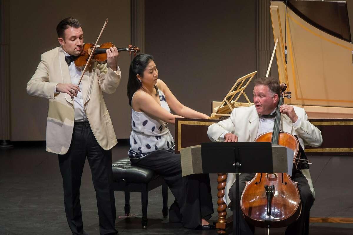 Violinist Adam Barnett-Hart (l.), harpsichordist Hyeyeon Park and cellist Keith Robinson at Music@Menlo, 7/15/17