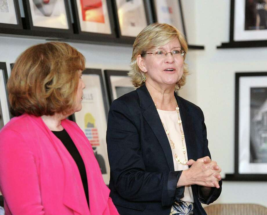 Christian Science Monitor Washington Bureau Chief, Linda Feldmann, right, speaks during a panel discussion about national  incivility and polarization at the Nantucket Project Library in Greenwich, Conn., Tuesday night, July 11, 2017. Photo: Bob Luckey Jr. / Hearst Connecticut Media / Greenwich Time