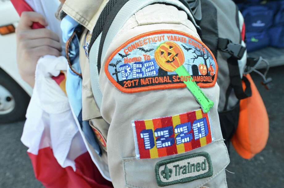 Official sponsor PEZ candy unique patch on the shoulder of a Troop 1220 Scout as Boy Scouts with the Connecticut Yankee Council board buses on Sunday in Bridgeport headed for the 10-day National Scout Jamboree in West Virginia. Photo: Alex Von Kleydorff / Hearst Connecticut Media / Norwalk Hour