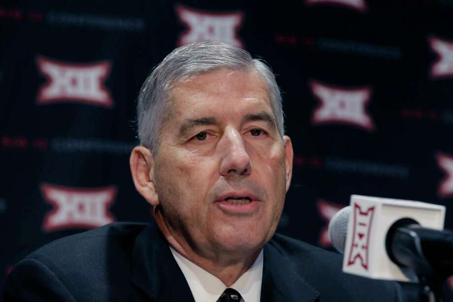 In this Oct. 17, 2016, file photo, Big 12 Commissioner Bob Bowlsby speaks to reporters after The Big 12 Conference meeting in Grapevine, Texas. When the Big 12 kicks off its football media days on Monday, commissioner Bob Bowlsby will be able to tout a winning record in bowl games last season and the still-growing revenue for the league's 10 schools. What the league really needs this season is to get a team into the College Football Playoff. Photo: LM Otero, STF / Copyright 2017 The Associated Press. All rights reserved.