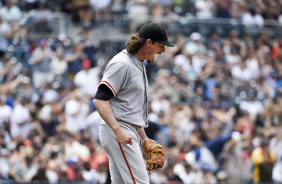 SAN DIEGO, CA - JULY 16: Jeff Samardzija #29 of the San Francisco Giants reacts after giving up a three-run home run to Cory Spangenberg #15 of the San Diego Padres during the third inning of a baseball game at PETCO Park on July 16, 2017 in San Diego, California. (Photo by Denis Poroy/Getty Images) Photo: Denis Poroy, Getty Images