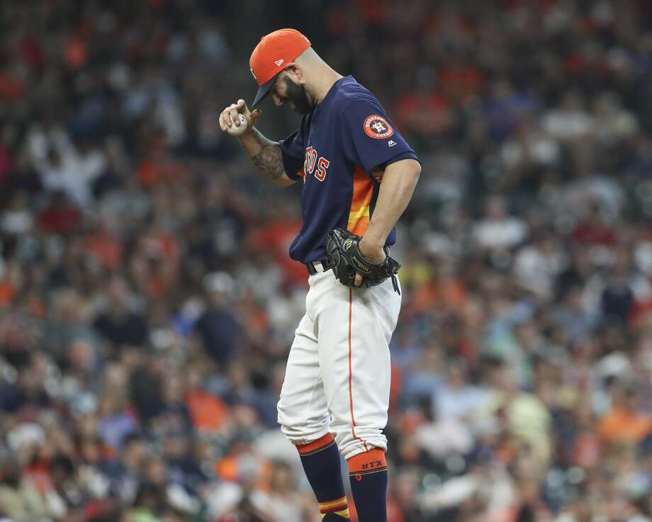 Houston Astros starting pitcher Mike Fiers (54) on the mound during the top fifth inning of the game at Minute Maid Park Sunday, July 16, 2017, in Houston. ( Yi-Chin Lee / Houston Chronicle ) Photo: Yi-Chin Lee/Houston Chronicle