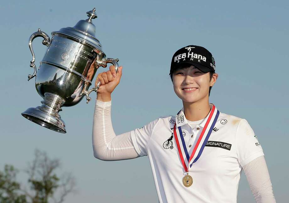 South Korea's Sung Hyun Park holds up the championship trophy after winning the U.S. Women's Open Golf tournament Sunday, July 16, 2017, in Bedminster, N.J. (AP Photo/Seth Wenig) Photo: Seth Wenig, STF / Copyright 2017 The Associated Press. All rights reserved.