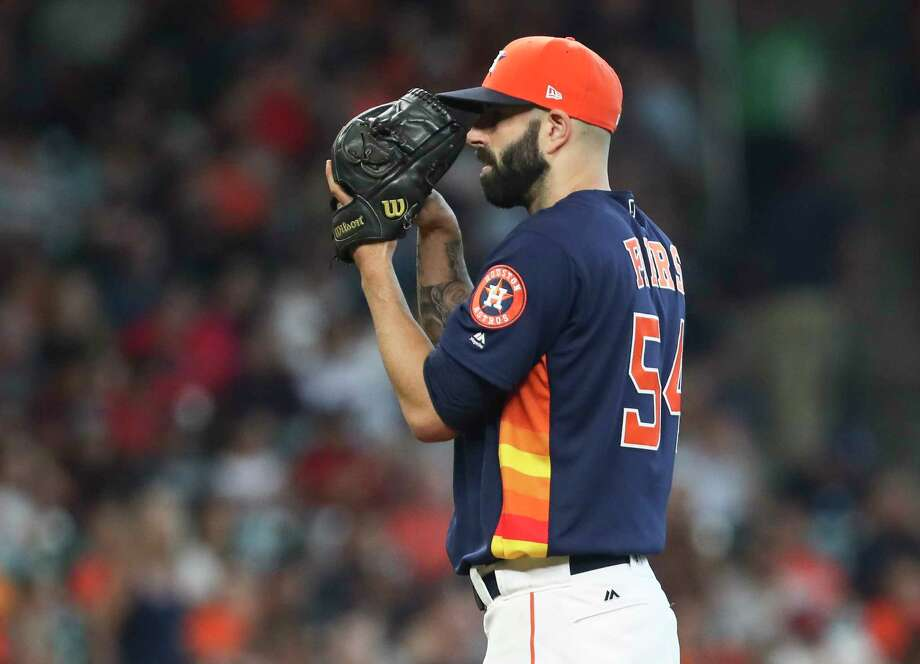 Houston Astros starting pitcher Mike Fiers (54) pitches during the top fifth inning of the game at Minute Maid Park Sunday in Houston. Photo: Yi-Chin Lee, Staff / © 2017  Houston Chronicle