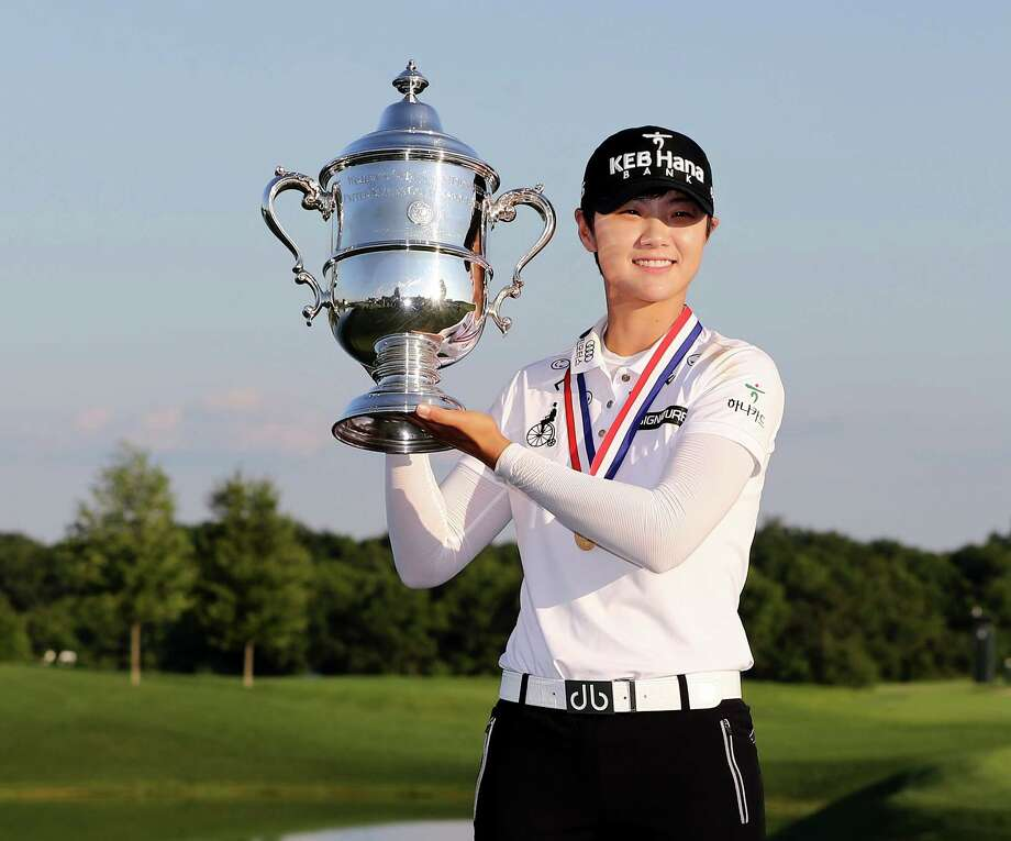 BEDMINSTER, NJ - JULY 16:  Sung Hyun Park of Korea poses with the trophy afer the final round of the U.S. Women's Open on July 16, 2017 at Trump National Golf Club in Bedminster, New Jersey.  (Photo by Elsa/Getty Images) ORG XMIT: 692447449 Photo: Elsa / 2017 Getty Images