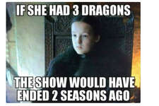 """Lyanna Mormont in #GameOfThones: 'I don't plan on knitting by the fire while men fight for me'! #girlpower""  Source:  Twitter"