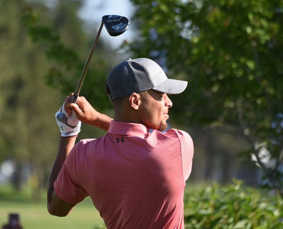 Stephen Curry tees off during a practice round ahead of the American Century Championship at Edgewood Tahoe Golf Course on Thursday July 13, 2017 in Stateline, Nevada. Photo: Jeff Bayer/American Century Championship / Jeff Bayer/American Century Championship