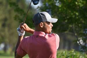 Stephen Curry tees off during a practice round ahead of the American Century Championship at Edgewood Tahoe Golf Course on Thursday July 13, 2017 in Stateline, Nevada.