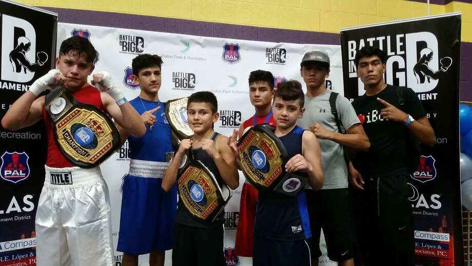 From left, Austin Alvarado, Emilio Garcia, Roy Garcia and Jose Luis Martinez from Baby Joey's Boxing Club all won titles Sunday at the Battle in Big D. Photo: Courtesy Photo