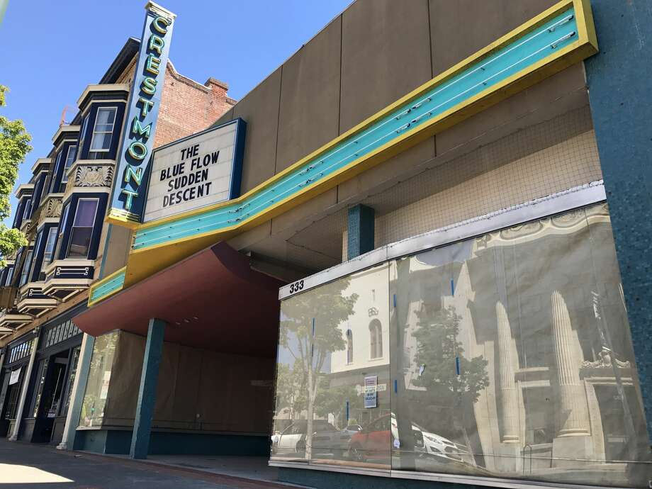"The exterior of the Crestmont Theater in ""13 Reasons Why"" is filmed at 333 Georgia St. in Vallejo, Calif. Notably to locals, Higgins Shoe Store, a business originally founded in 1908, was located at this address until it closed in 1993. The Crestmont sign and marque was erected for filming. Photo: Chris Preovolos"
