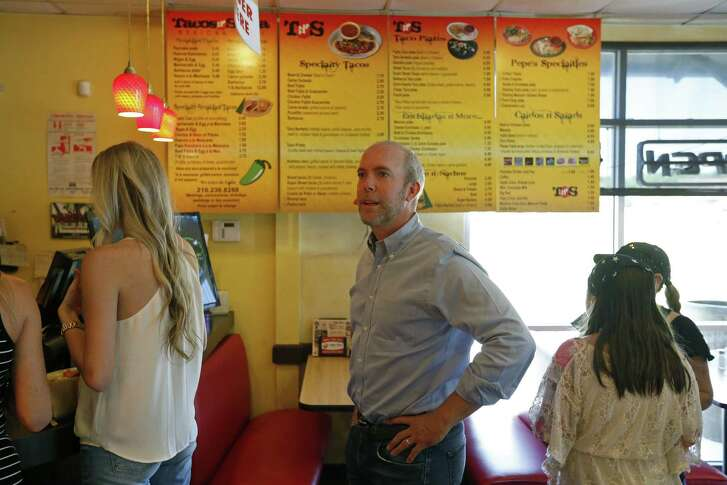 Joseph Kopser waits to place his order, Monday July 10, 2017 at Pepe's Tacos N' Salsa.  Kopser is the leading Democrat vying to challenge U.S. Rep. Lamar Smith in 2018.