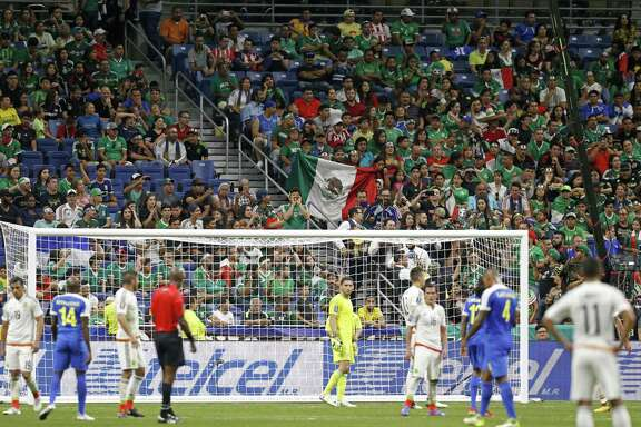 Mexico soccer fans watch the CONCACAF Gold Cup soccer match between Mexico and Curacao held Sunday July 16, 2017 at the Alamodome. Mexico won 2-0.