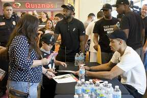 Fans gathered at Laredo Energy Arena to take pictures with and get autographs from Spurs guard Danny Green on Friday, July 14.
