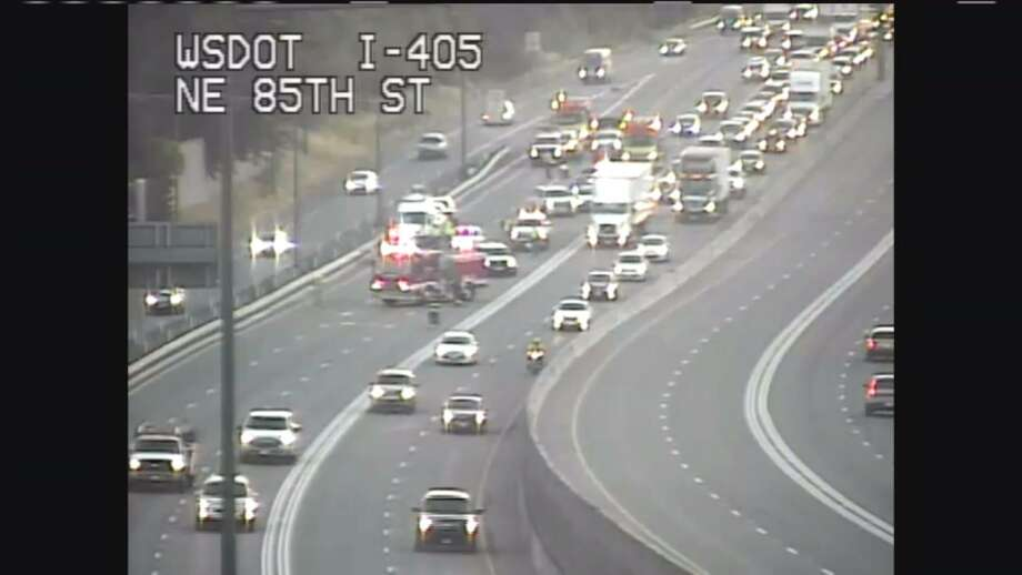 """Drivers along southbound I-405 were backed up Monday morning due to a possible """"car surfing"""" accident. Photo: WSDOT"""