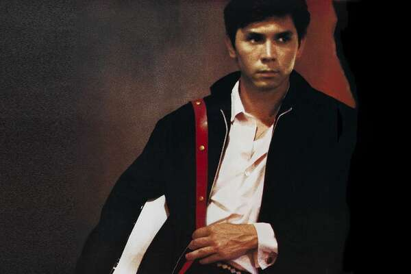 "Lou Diamond Phillips starred as Ritche Valens in the 1987 rock'n'roll biopic ""La Bamba."" The soundtrack (cover art shown) featuring original recordings of Valens classics performed by Los Lobos."