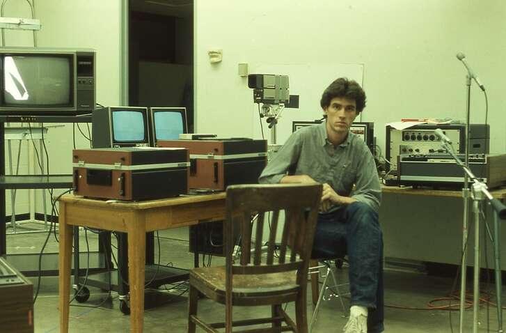 Michael Galbreth in 1983 at the University of Houston art department's sound studio.