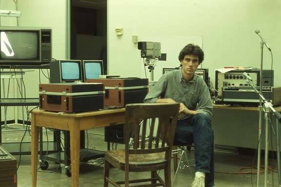 Michael Galbreth in 1983 at the University of Houston art department's sound studio.