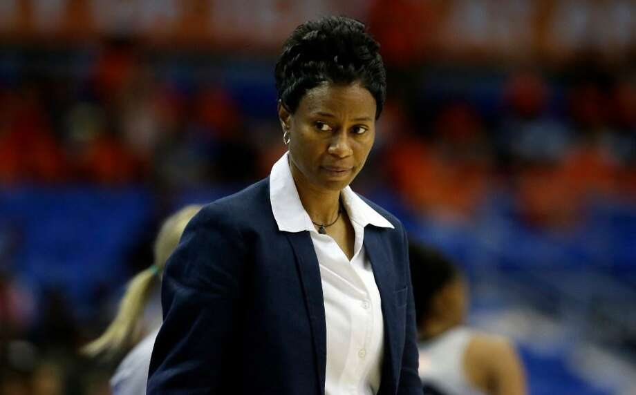 San Antonio Stars head coach Vickie Johnson watches from the sidelines during the second half of a WNBA basketball game against the Dallas Wings in Arlington, Texas, Dallas, Wednesday, June 21, 2017. Photo: LM Otero /AP Photo