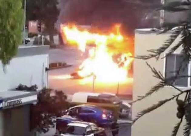 Lamborghini explodes into flames at Redwood City gas station