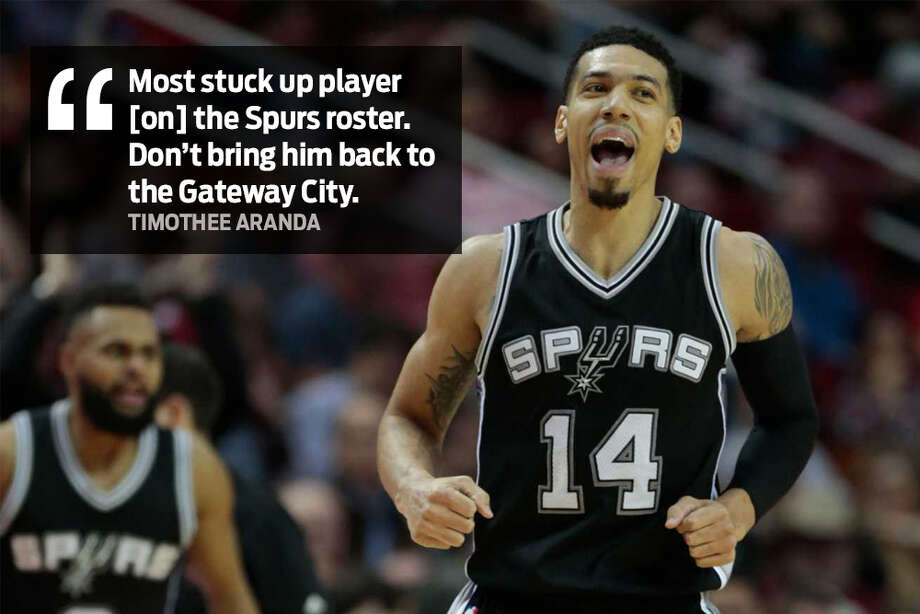 "Timothee Aranda: ""Most stuck up player [on] the Spurs roster. Don't bring him back to the Gateway City."" Photo: Facebook"