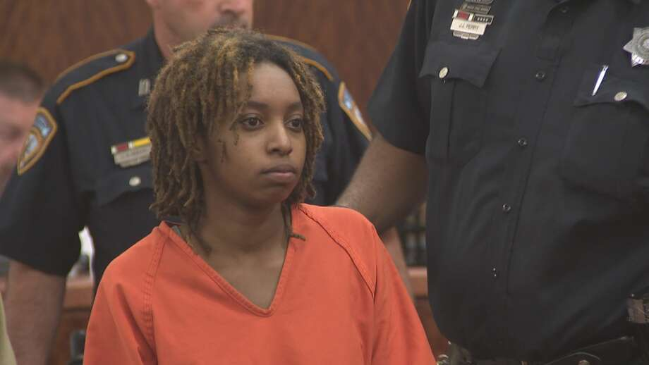 Timesha Wilson, 22, appears in court on a charge of capital murder.