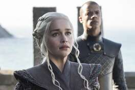"Emilia Clarke as Daenerys Targaryen and Jacob Anderson as Grey Worm in the first episode of the seventh season of HBO's ""Game of Thrones."""