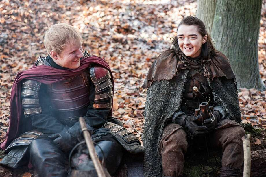 "Ed Sheeran and Maisie Williams as Arya Stark in the first episode of the seventh season of HBO's ""Game of Thrones."" Photo: Helen Sloan/courtesy Of HBO"