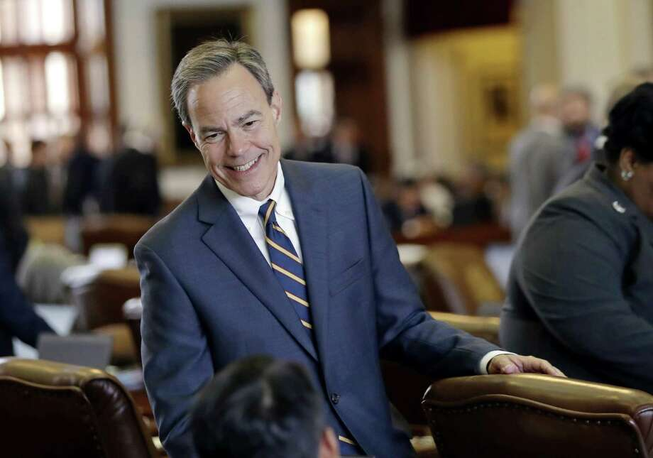Texas Speaker of the House Joe Straus, R-San Antonio, talks with fellow lawmakers on the House floor at the Texas Capitol in April. Photo: Eric Gay /Associated Press / Copyright 2017 The Associated Press. All rights reserved.