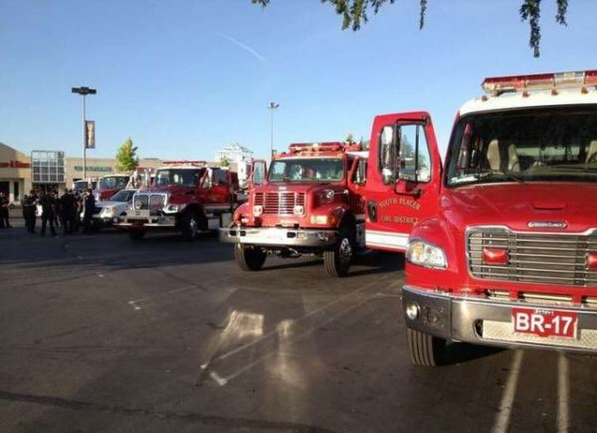 A South Placer Fire Department strike team responds to the Detwiller Fire in Mariposa County.