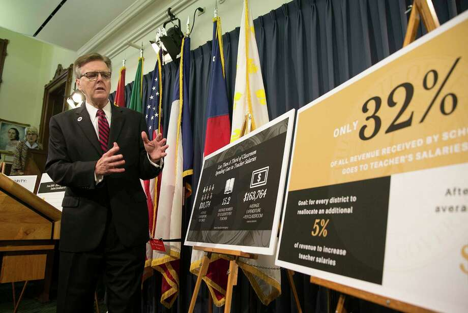 Texas Lt. Gov. Dan Patrick discusses his special session plan to boost teacher pay during a press conference at the Capitol in Austin, Thursday, July 13, 2017. Patrick wants to spend $700 million annually in Texas lottery revenue on bonuses for veteran teachers. (Deborah Cannon,/Austin American-Statesman via AP) Photo: Deborah Cannon, MBO / Austin American-Statesman