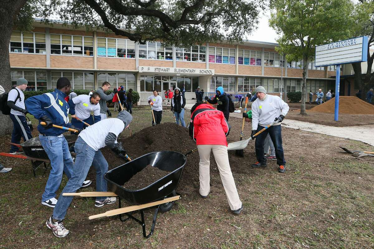 Volunteers landscape the front of P.F. Stewart Elementary, 1950 Rigsby Ave., in this 2014 file photo . The school will benefit from a partnership that allows aspiring teachers from Texas A&M University - San Antonio to meet their certification requirements there and get tuition for earning master's degrees if they commit to teaching there for five more years. MARVIN PFEIFFER/ mpfeiffer@express-news.net