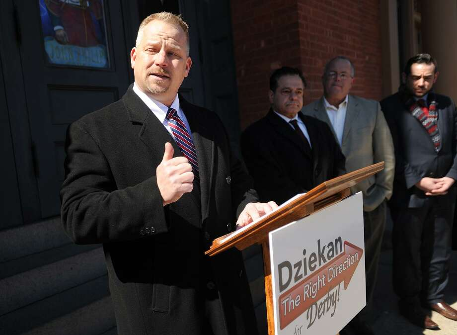 Richard Dziekan during his March 22, 2017 announcement that he is seeking Derby's Republican mayoral nomination. Photo: Brian A. Pounds / Hearst Connecticut Media / Connecticut Post