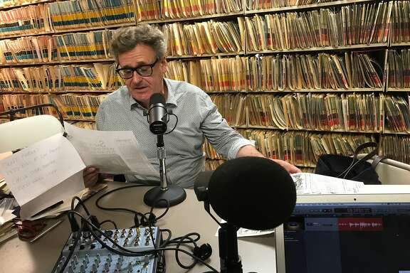 Greg Proops reads his 1980s mention in a Herb Caen column, during a June 23 podcast recording at the San Francisco Chronicle.