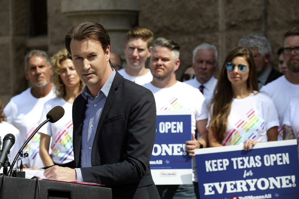 David Heard, CEO of Tech Bloc San Antonio, speaks against the bathroom bill at the state capitol, Monday, July 17, 2017.