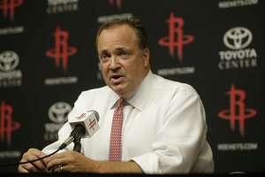 Tad Brown, Houston Rockets CEO, announces during media conference at Toyota Center Monday, July 17, 2017 in Houston that owner Les Alexander is selling the NBA team.