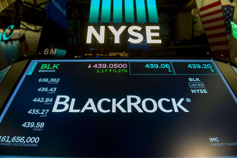 The trading symbol for BlackRock is displayed at the closing bell of the Dow Industrial Average at the New York Stock Exchange on July 14, 2017 in New York.  / AFP PHOTO / Bryan R. SmithBRYAN R. SMITH/AFP/Getty Images Photo: BRYAN R. SMITH, AFP/Getty Images