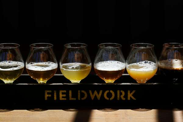 A flight of beer, from left, Old Love, Rancher, Gosaic, Treasure Hands, Overripe!, and Salted Coconut pictured at Fieldwork Brewing Company July 14, 2017 in San Mateo, Calif.