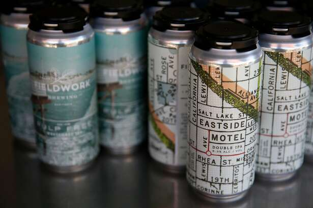 Two four packs of canned beer that Fieldwork Brewing Company offers customers pictured July 14, 2017 in San Mateo, Calif.