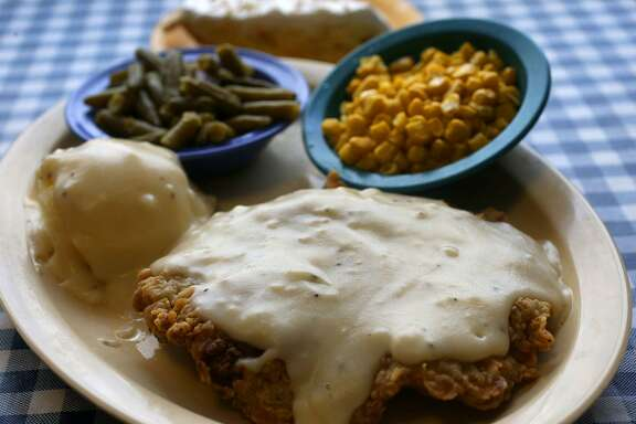 This is the award-winning chicken fried steak (with trimmings) at Radicke's Bluebonnet Grill. Radicke's is located at 237 N. W.W. White near Interstate 10 East.