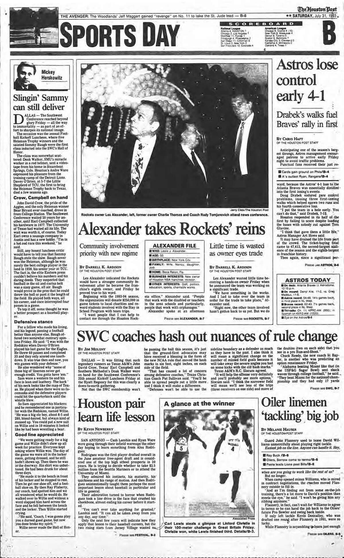 LES ALEXANDER BUYS THE ROCKETS The Houston Post's sports section cover on July 31, 1993 when Les Alexander took over the Rockets after buying the franchise for $85 million.